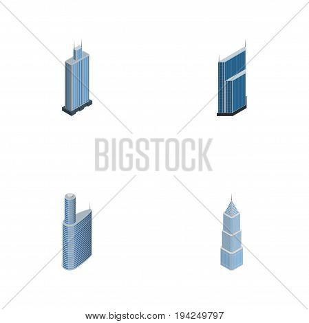 Isometric Construction Set Of Building, Business Center, Exterior And Other Vector Objects. Also Includes Exterior, Skyscraper, Residential Elements.