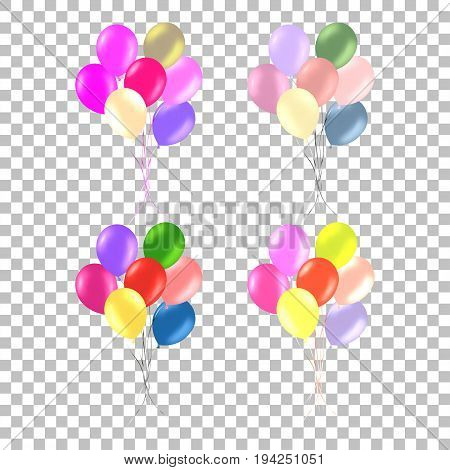 Bunch of colorful helium balloons on transparent background. Party decorations for birthday, anniversary, celebration.