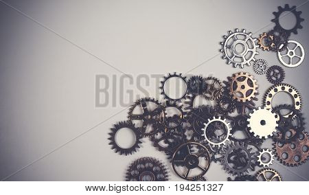 Set Of Rusty Metal Gears Or Cogs Gear Isolated On A White Background. Closeup Of Metal Cog Gears Tex