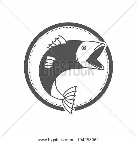 monochrome silhouette circular emblem with fish bigmouth vector illustration