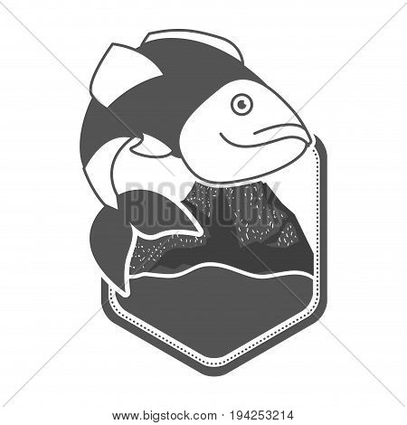 monochrome silhouette of diamond shape emblem with mountains and river with largemouth bass fish vector illustration