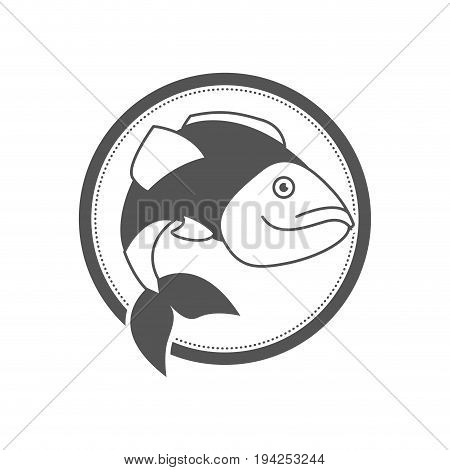 monochrome silhouette circular emblem with largemouth bass fish vector illustration