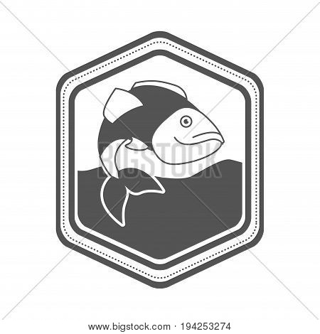 monochrome silhouette of diamond shape emblem with largemouth bass fish in the river vector illustration