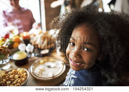 Little Kid Children Smiling Thanksgiving Celebration Concept
