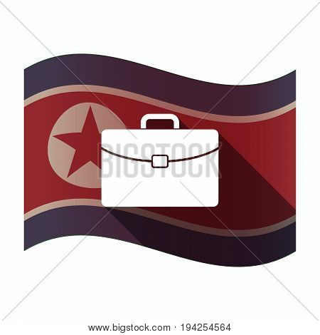 Long Shadow North Korea Flag With  A Briefcase