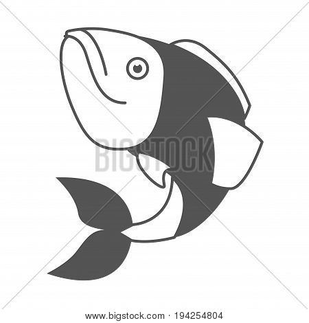 monochrome silhouette of largemouth bass fish vector illustration