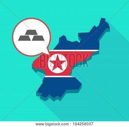 Long Shadow North Korea Map With Three Gold Bullions
