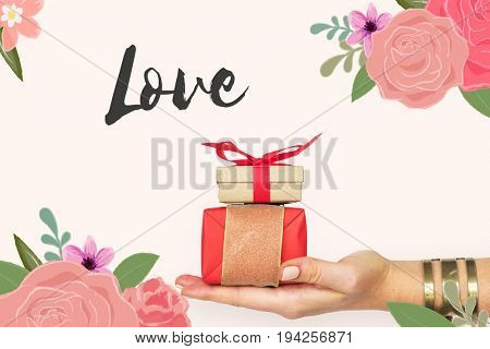 Love Fondness Flower Boarder Card Concept