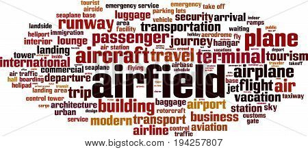 Airfield word cloud concept. Vector illustration on white