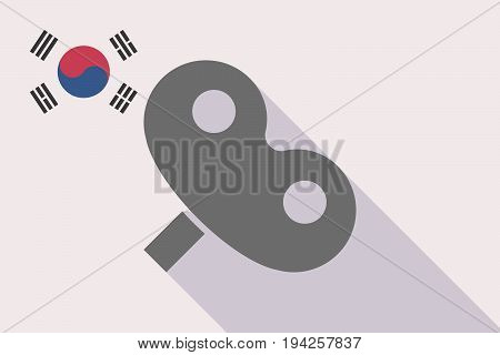 Long Shadow South Korea Flag With A Toy Crank