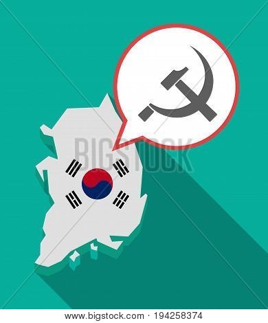 Long Shadow South Korea Map With  The Communist Symbol