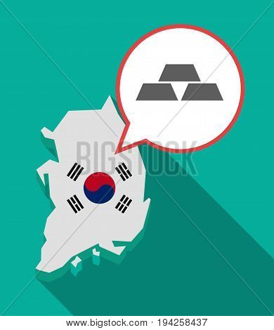 Long Shadow South Korea Map With Three Gold Bullions