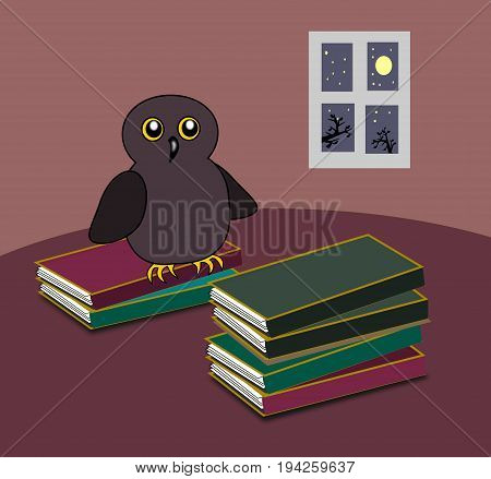 An owl and some stacks of books, and a window in the background.