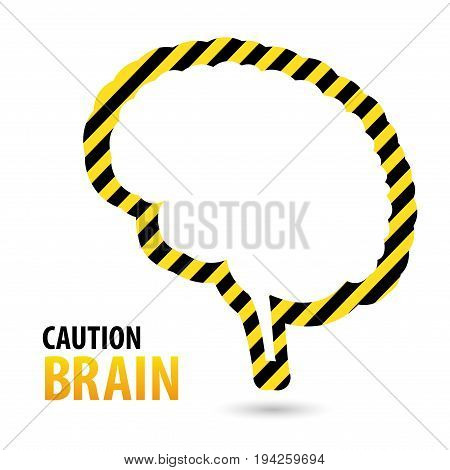 Brain Warning tape, danger tape. Sign caution brain