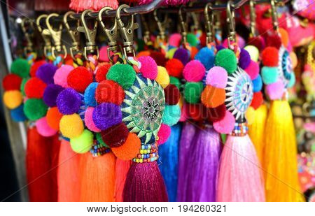 Colour full of hand made fabric key chain