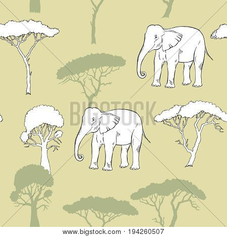 Seamless Pattern with Elephant and savanna trees. Hand drawn sketches. Vector Illustration