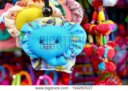 hand made elephen face fabric key chain