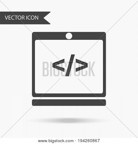 Vector illustration of an icon in the form of a laptop with a slash image. Flat icon programming an electronic device on a white background.