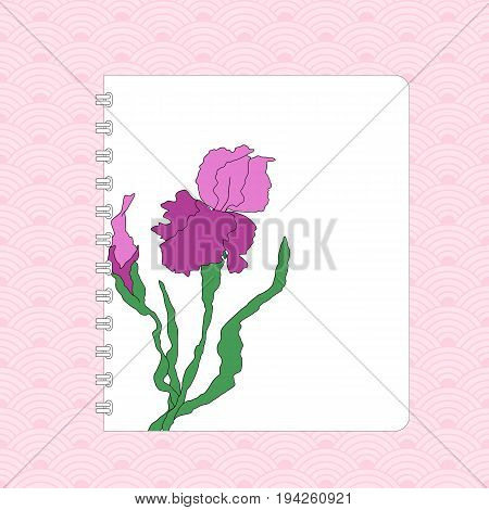 Notebook cover design, hand-drawing illustration. Vectorized irises, hand-drawing illustration, Stylized traditional Chinese painting, Japanese art sumi-e