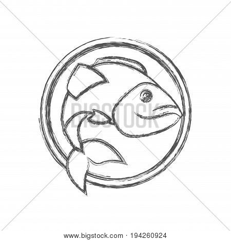 blurred sketch silhouette circular emblem with largemouth bass fish vector illustration