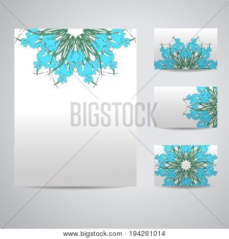 Set of blank templates. Business cards and letterhead paper. Illustration with floral Mandala pattern