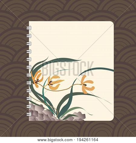 Notebook cover design with the image of hand-drawing illustration. Wild orchid growing on stones. Traditional Chinese painting, Japanese art sumi-e, vector stylization