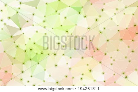 Abstract geometric crystal background with triangular polygons. Vector illustration. Dots with circles big data visualization. Green and pink colors.