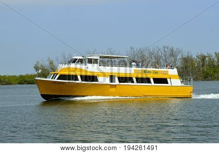 Fort Lauderdale Florida USA - May 26 2017 : Water taxi on the Fort Lauderdale intercoastal waterway
