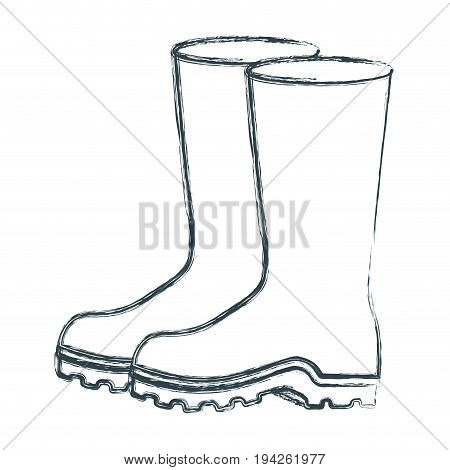 blurred sketch silhouette of fishing plastic boots accesory vector illustration