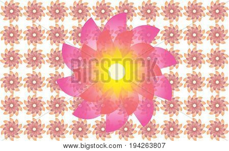 Abstract Flower Illustration Designs Isolated on White BG
