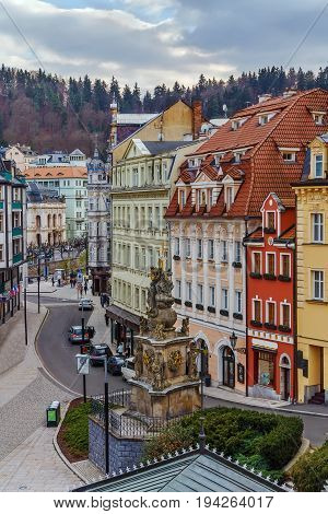 View of Karlovy Vary city center with Holy Trinity Column Czech republic