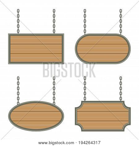 wooden sign with iron frame on the chains. vector isolated