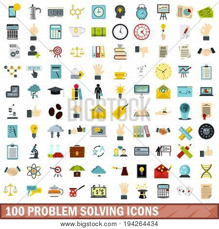 100 problem solving icons set in flat style for any design vector illustration