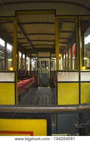 omnibus wagon of an old railway of milan in a musem