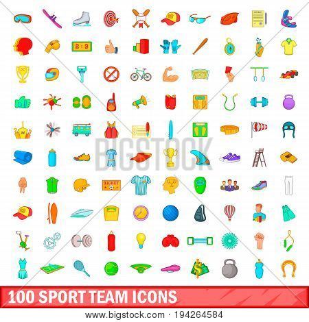 100 sport team icons set in cartoon style for any design illustration