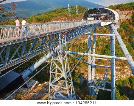 SOCHI, RUSSIA, SEP, 05, 2015: SKYPARK bangee jumping tower and high speed MegaTroll for people tourist.Best adrenaline places Sochi sightseeing holiday vacation best tours travel entertainment