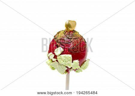 Decorated cake pop isolated on white background