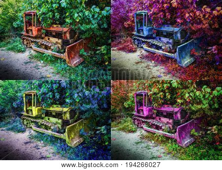 Set of four 4 in 1 hue images of old fashion antique worn rusted construction full track crawler tractors among trees. Red pink blue yellow machine crawler tractor blade vehicle. Abstract background