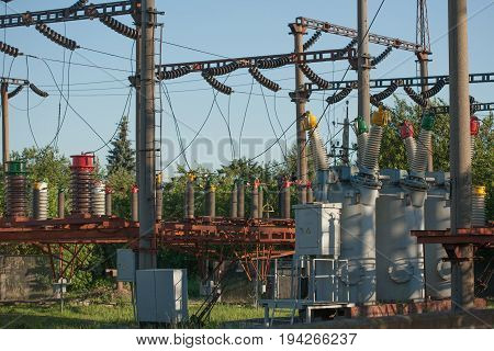 Electrical substation infrastructure with close up on electrical circuit breakers