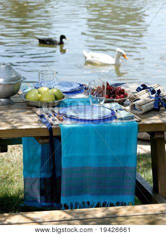 picnic on a riverside