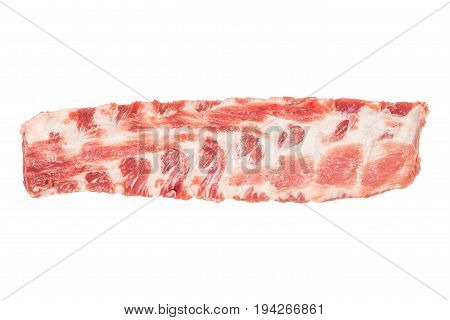 Raw pork ribs isolated on white background closeup