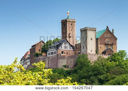 View of the famous Wartburg - a world heritage site Thuringia Germany