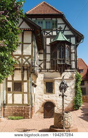 Timberframe house at castle Wartburg Thuringia Germany
