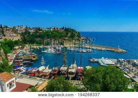 ANTALYA, TURKEY - JUNE 16, 2017:Aerial view of the marina and the roof of the houses of the old town of Kaleici in Antalya Turkey.