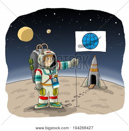 The astronaut flew to another planet holds the flag of the Earth