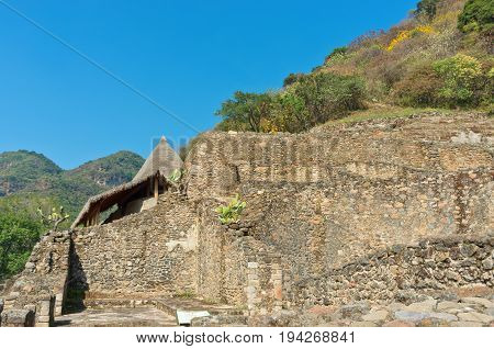 Ruins In Malinalco,  Archaeological Site In  Mexico.