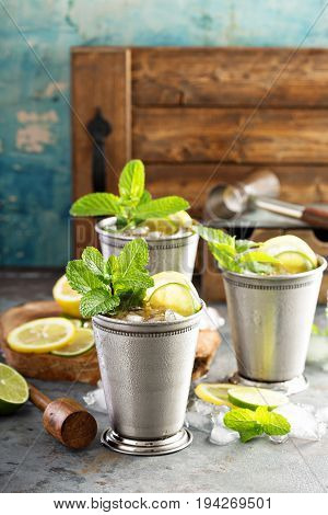 Classic mint julep cocktail with lime and lemon
