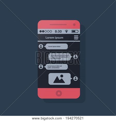 Mobile phone. Social network concept. Vector illustration. Messenger window. Chating and messaging concept.