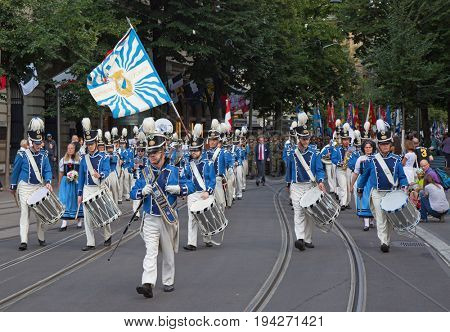 ZURICH - AUGUST 1: Swiss National Day parade on August 1, 2016 in Zurich, Switzerland. Parade opening with Zurich city orchestra