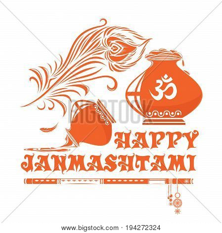 Janmasthami logo icon. Krishna Janmasthami - the annual celebration of the birth of Krishna. Vector illustration with kalash, flute, peacock feather and lettering - Happy Janmasthami